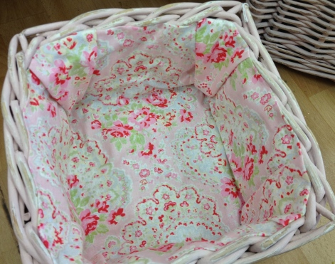 Pink Paisley Fabric Lined Basket  SOLD